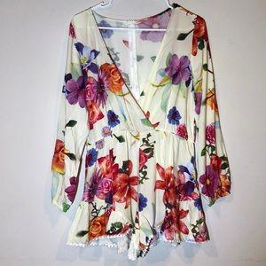 Long Sleeve Floral Romper Dress